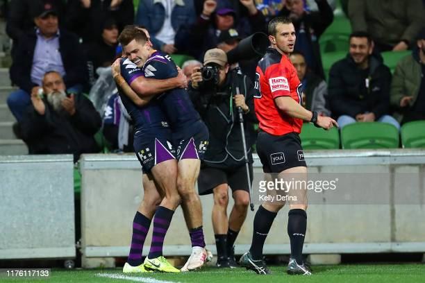 Ryan Papenhuyzen of the Storm celebrates his try during the NRL Semi Final match between the Melbourne Storm and the Parramatta Eels at AAMI Park on...