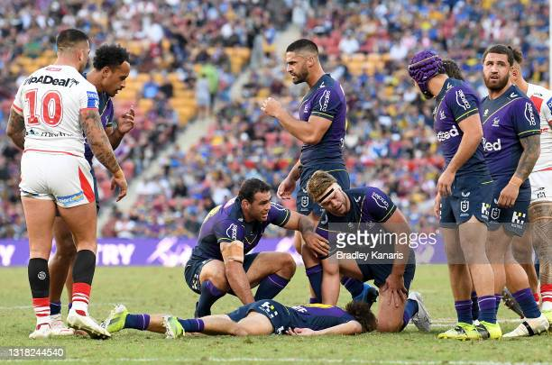 Ryan Papenhuyzen of the Storm is seen on the ground after being knocked out during the round 10 NRL match between the Melbourne Storm and the St...