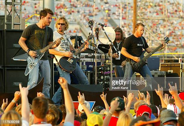 Ryan Peake Chad Kroeger and Mike Kroeger of Nickelback live during prerace of the NASCAR Nextel Cup Chevy Rock Roll 400 at the Richmond International...