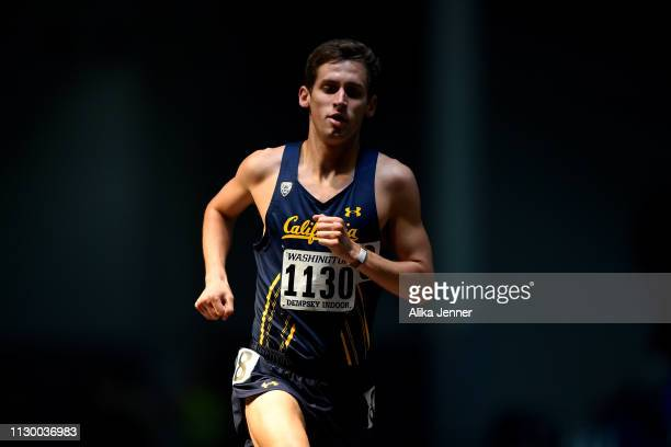 Ryan Peck of Cal competes in the men's one mile run at Dempsey Indoor Center on February 15 2019 in Seattle Washington