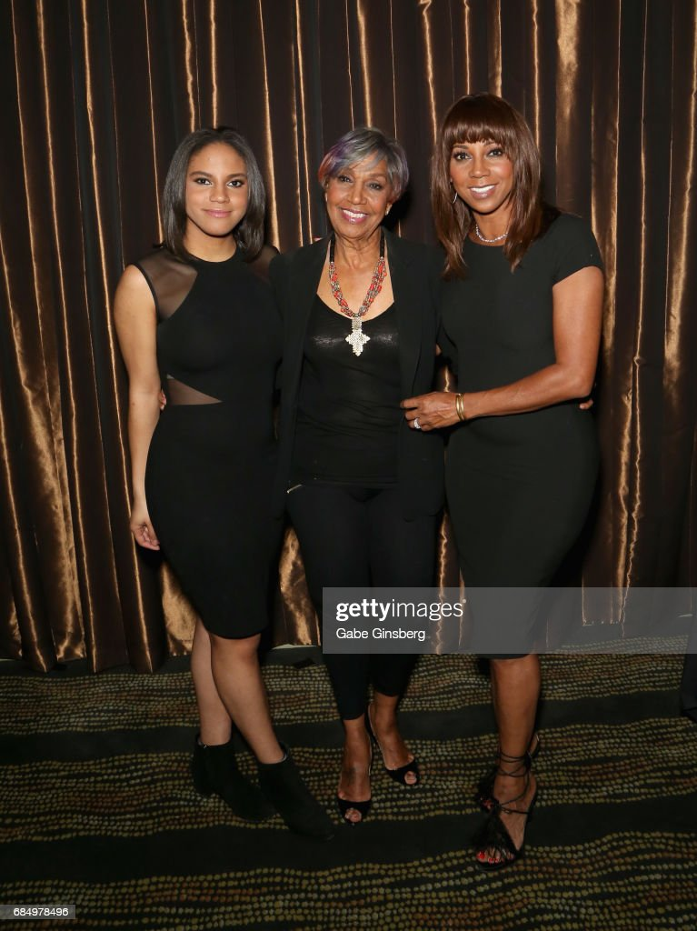 Ryan Peete, Robinson Entertainment President and honoree Dolores Robinson and actress Holly Robinson Peete attend the 2017 Personal Managers Hall of Fame induction ceremony at the Downtown Grand Hotel & Casino on May 18, 2017 in Las Vegas, Nevada.
