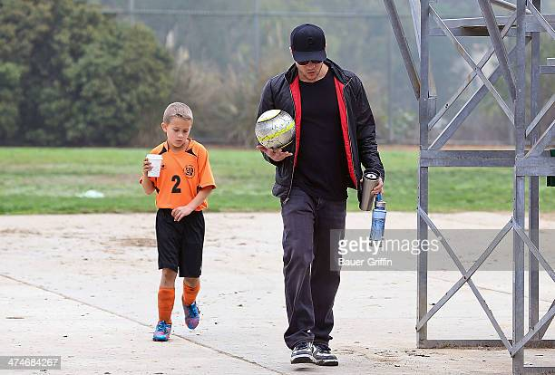 Ryan Phillippe and his son Deacon Phillippe are seen after soccer on December 08 2012 in Los Angeles California
