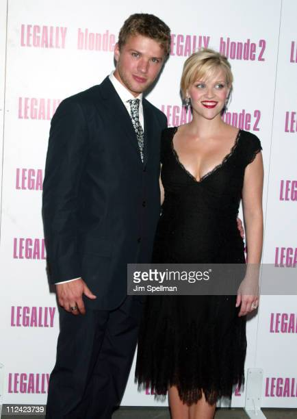 Ryan Phillippe and Reese Witherspoon during Legally Blonde 2 Red White Blonde Premiere New York City Outside Arrivals at Ziegfeld Theater in New York...