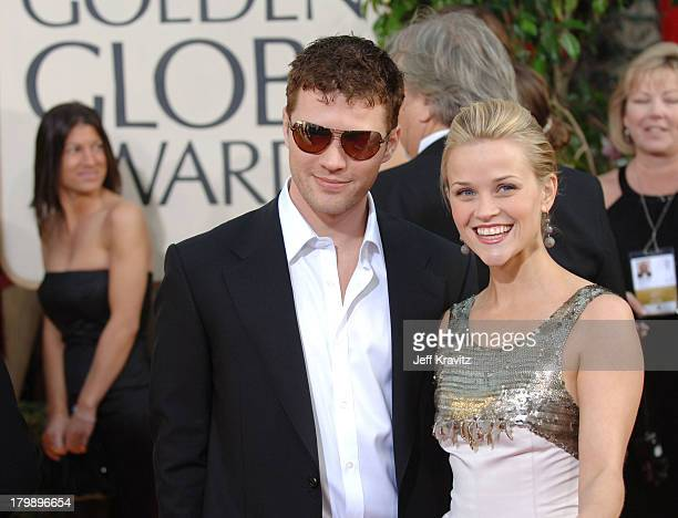 Ryan Phillippe and Reese Witherspoon during The 63rd Annual Golden Globe Awards Red Carpet at Beverly Hilton Hotel in Beverly Hills California United...
