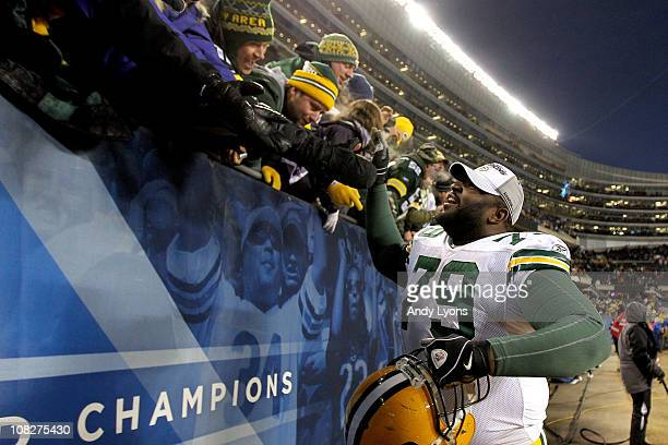 Ryan Pickett of the Green Bay Packers reacts after the Packers 21-14 victory against the Chicago Bears in the NFC Championship Game at Soldier Field...