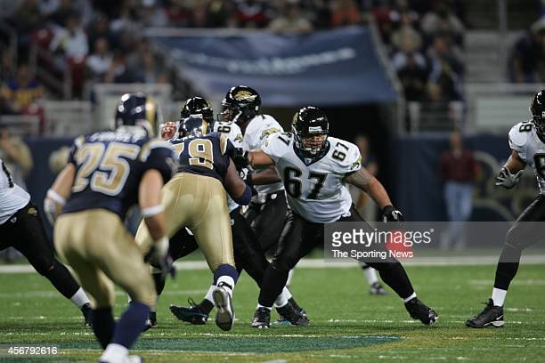 Ryan Pickett of the St. Louis Rams puts a block during a game against the Jacksonville Jaguars on October 30, 2005 at the Edward Jones Dome Stadium...