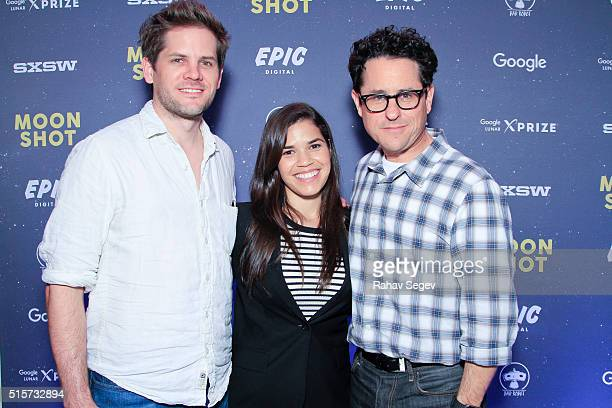 Ryan Piers Williams America Ferrera and JJ Abrams attend the Bad Robot Epic Digital Google XPRIZE 'Moon Shot' Party At SXSW at The Belmont on March...