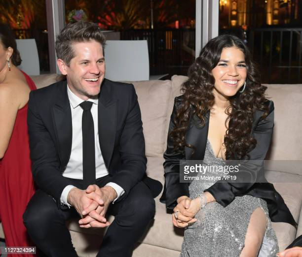 Ryan Piers Williams and America Ferrera attend the 2019 Vanity Fair Oscar Party hosted by Radhika Jones at Wallis Annenberg Center for the Performing...