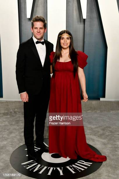 Ryan Piers Williams and America Ferrera attend the 2020 Vanity Fair Oscar Party hosted by Radhika Jones at Wallis Annenberg Center for the Performing...