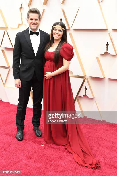 Ryan Piers Williams and America Ferrera attend the 92nd Annual Academy Awards at Hollywood and Highland on February 09, 2020 in Hollywood, California.