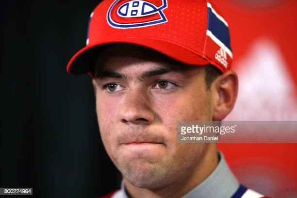 Ryan Poehling is interviewed after being selected 25th overall by the Montreal Canadiens during the 2017 NHL Draft at the United Center on June 23...