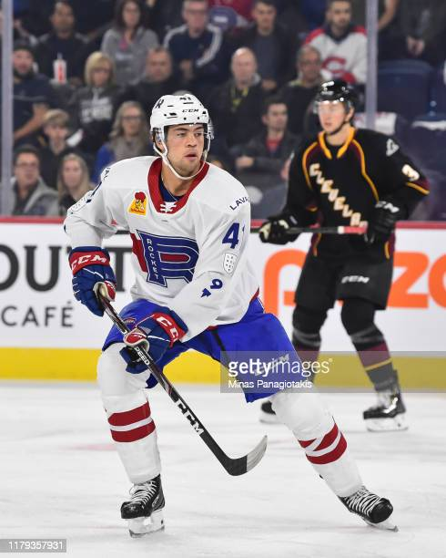 Ryan Poehling of the Laval Rocket skates against the Cleveland Monsters at Place Bell on October 4 2019 in Laval Canada The Cleveland Monsters...