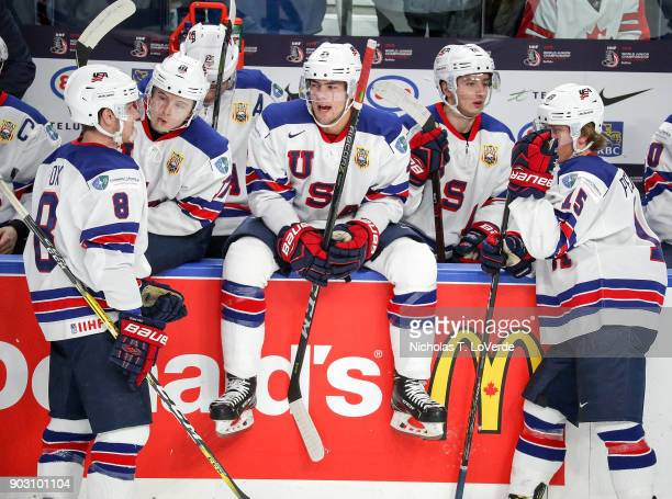 Ryan Poehling of United States takes a break on the boards during a TV timeout against the Czech Republic during the first period of play in the IIHF...