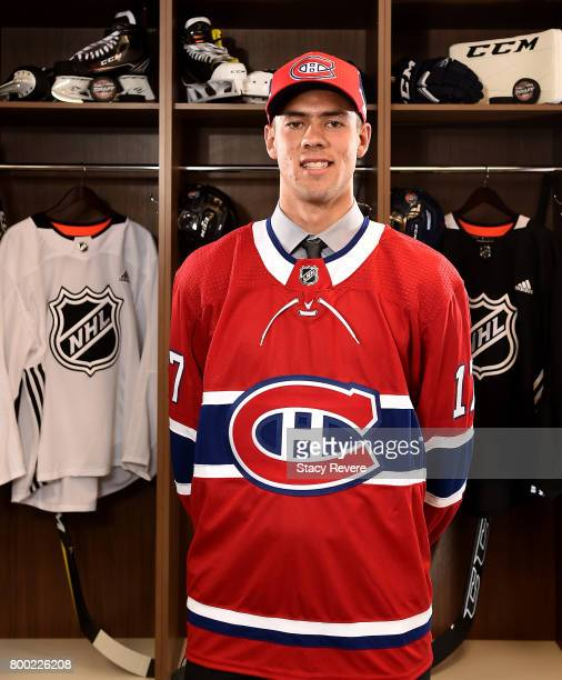 Ryan Poehling poses for a portrait after being selected 25th overall by the Montreal Canadiens during the 2017 NHL Draft at the United Center on June...