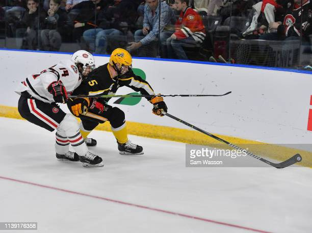 Ryan Polin of the American International Yellow Jackets skates with the puck against Patrick Newell of the St Cloud State Huskies during an NCAA...
