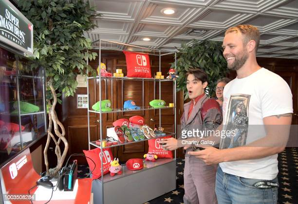 Ryan Porter and Brooks Wheelan test their skills on Super Smash Bros Ultimate for Nintendo Switch at the Variety Studio at ComicCon 2018 on July 21...