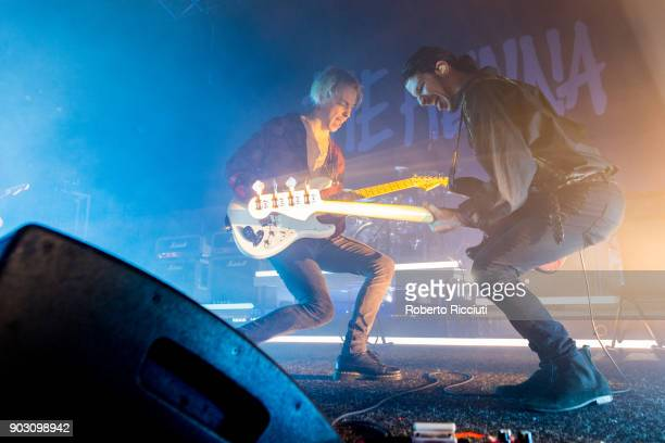 Ryan Potter and Jermaine Angin of The Hunna perform on stage at O2 Academy Glasgow on January 9 2018 in Glasgow Scotland