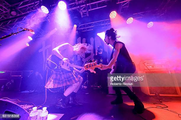 Ryan Potter and Jermaine Angin of The Hunna perform on stage at The Liquid Room on January 17, 2017 in Edinburgh, Scotland.