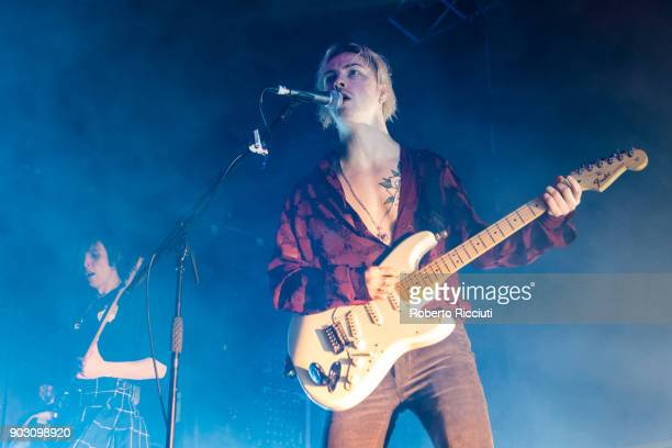 Ryan Potter of The Hunna performs on stage at O2 Academy Glasgow on January 9 2018 in Glasgow Scotland