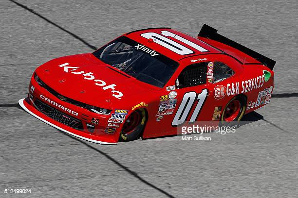 Ryan Preece driver of the Kubota Chevrolet practices for the NASCAR XFINITY Series Heads Up Georgia 250 at Atlanta Motor Speedway on February 26 2016...