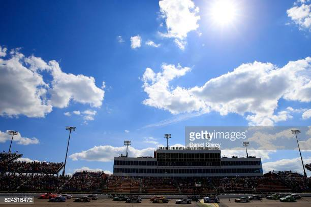 Ryan Preece driver of the MoHawk Northeast Inc Toyota leads the field in a restart during the NASCAR XFINITY Series US Cellular 250 Presented by...