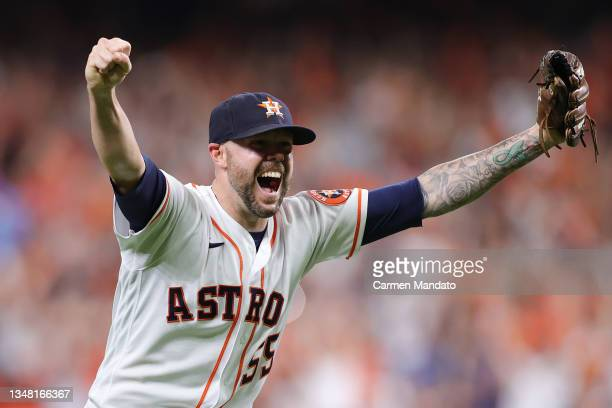 Ryan Pressly of the Houston Astros celebrates after the final out in the ninth inning as they defeat the Boston Red Sox 5-0 in Game Six of the...