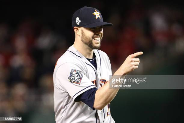 Ryan Pressly of the Houston Astros celebrates his teams 71 win over the Washington Nationals in Game Five of the 2019 World Series at Nationals Park...