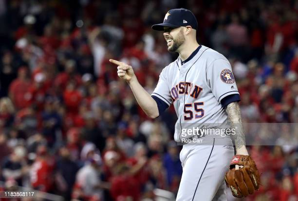Ryan Pressly of the Houston Astros celebrates his teams 7-1 win over the Washington Nationals in Game Five of the 2019 World Series at Nationals Park...