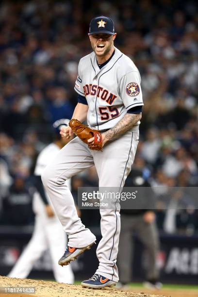 Ryan Pressly of the Houston Astros reacts after retiring the side in the fifth inning against the New York Yankees in game four of the American...