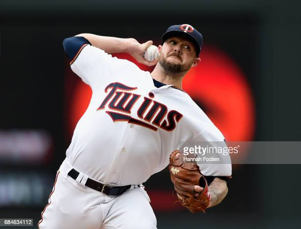 Ryan Pressly of the Minnesota Twins delivers a pitch against the Colorado Rockies during the eighth inning of game one of a doubleheader on May 18,...