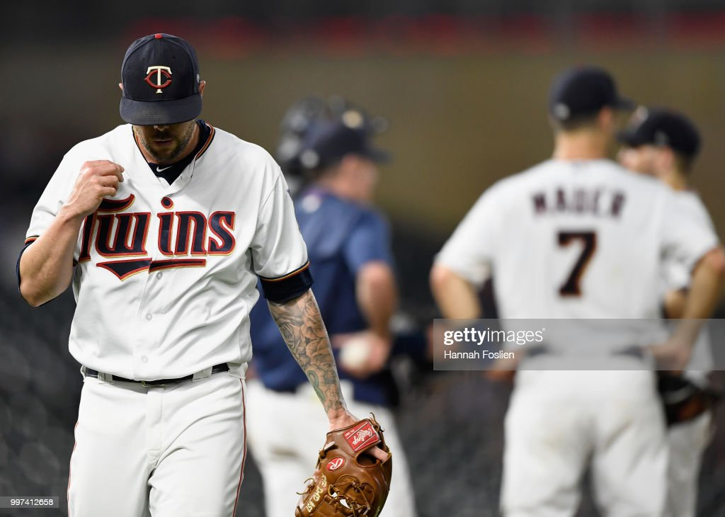 Ryan Pressly #57 of the Minnesota Twins is pulled from the game against the Tampa Bay Rays during the ninth inning after loading the bases on July 12, 2018 at Target Field in Minneapolis, Minnesota. The Twins defeated the Rays 5-1.