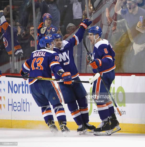 Ryan Pulock of the New York Islanders celebrates his game winning goal at 19:21 of the third period against the Philadelphia Flyers at the Barclays...