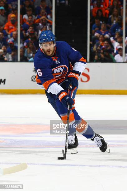 Ryan Pulock of the New York Islanders in action against the Tampa Bay Lightning in Game Six of the Stanley Cup Semifinals of the 2021 Stanley Cup...