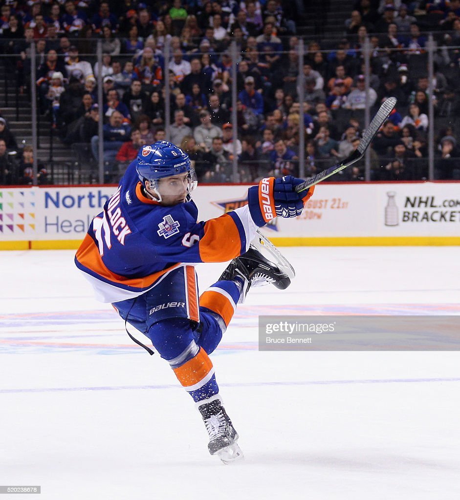 Ryan Pulock #6 of the New York Islanders skates against the Buffalo Sabres at the Barclays Center on April 9, 2016 in the Brooklyn borough of New York City. The Sabres defeated the Islanders 4-3 in overtime.