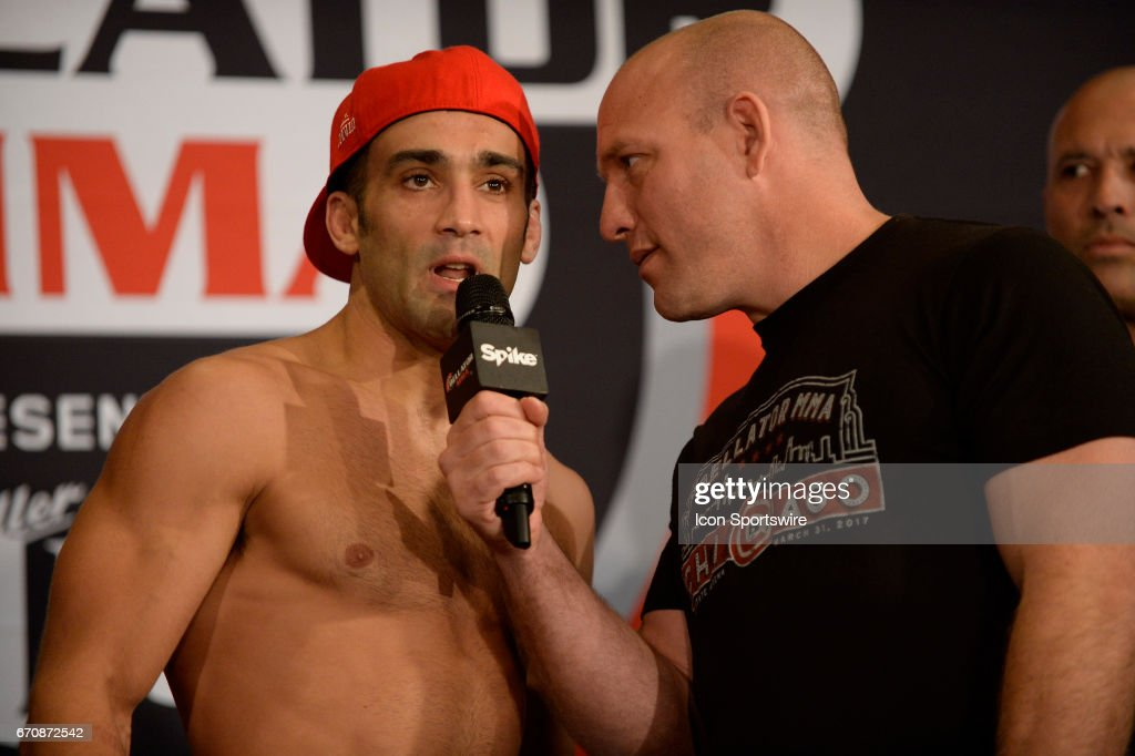 Ryan Quinn pose for photos at the weigh-in. Saad Awad will be challenging Ryan Quinn at Lightweight in Bellator 178 on April 20, 2017 at the Mohegan Sun Arena in Uncasville, Connecticut.