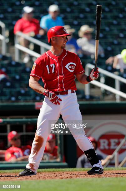 Ryan Raburn of the Cincinnati Reds bats against the Los Angeles Angels during the spring training game at Goodyear Ballpark on March 8 2017 in...