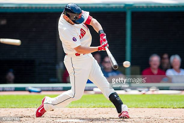 Ryan Raburn of the Cleveland Indians hits a two RBI double to left to take the lead during the fifth inning against the Toronto Blue Jays at...