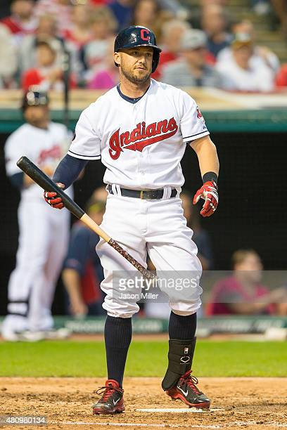 Ryan Raburn of the Cleveland Indians reacts after striking out during the sixth inning against the Tampa Bay Rays at Progressive Field on June 19,...