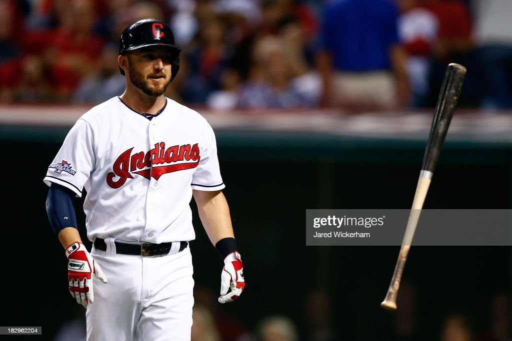 Ryan Raburn #9 of the Cleveland Indians reacts after striking out in the eighth inning against the Tampa Bay Rays during the American League Wild Card game at Progressive Field on October 2, 2013 in Cleveland, Ohio.