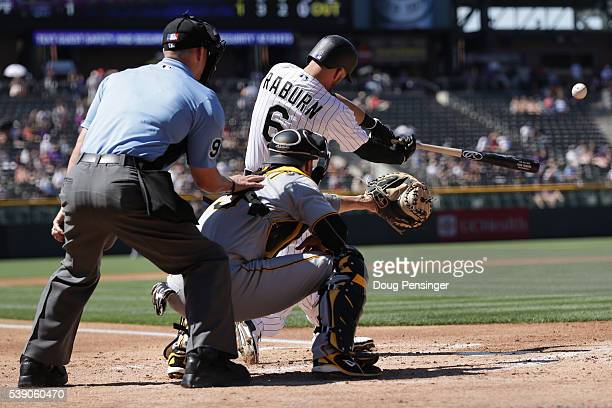 Ryan Raburn of the Colorado Rockies hits a two RBI triple off of Jeff Locke of the Pittsburgh Pirates to take a 3-1 lead in the first inning as...