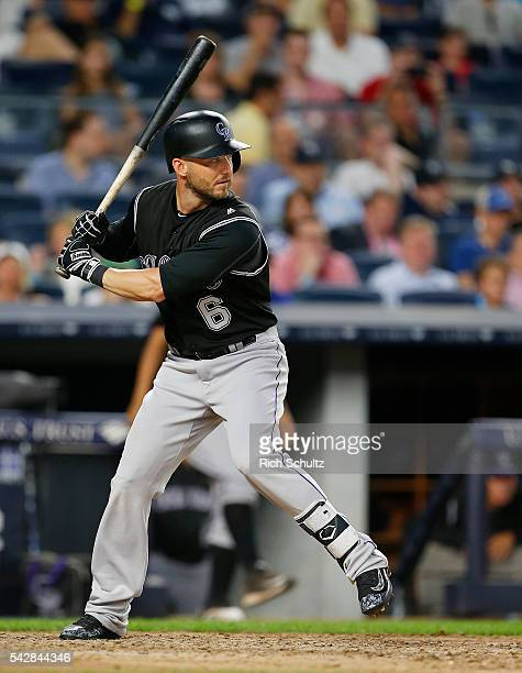 Ryan Raburn of the Colorado Rockies in action against the New York Yankees during a game at Yankee Stadium on June 21, 2016 in the Bronx borough of...