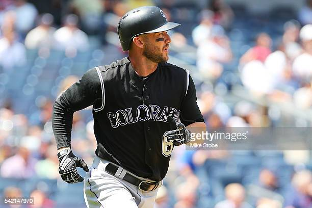 Ryan Raburn of the Colorado Rockies watches his two-run home run in the fifth inning against the New York Yankees at Yankee Stadium on June 22, 2016...