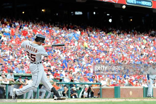 Ryan Raburn of the Detroit Tigers hits a three-run home run in the third inning of Game Two of the American League Championship Series against the...