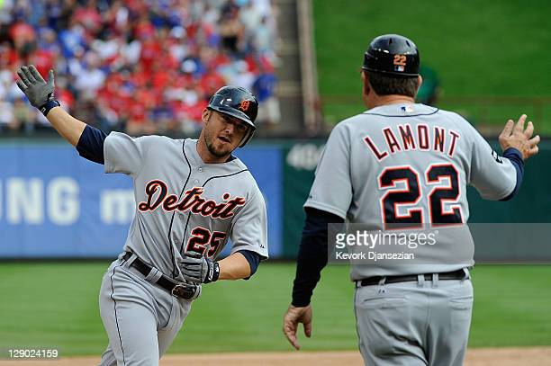 Ryan Raburn of the Detroit Tigers runs the bases after hitting a three-run home run in the third inning of Game Two of the American League...