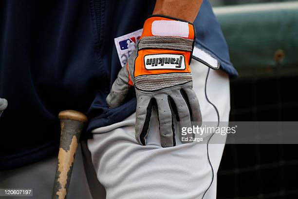 Ryan Raburn of the Detroit Tigers wears his Franklin batting gloves during a game against the Kansas City Royals at Kauffman Stadium on August 5,...