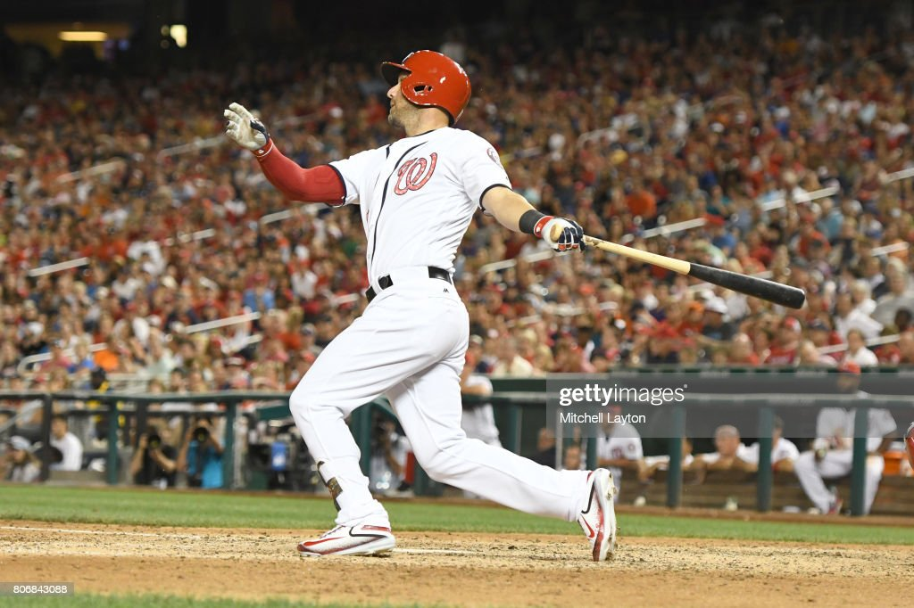 Ryan Raburn #18 of the Washington Nationals singles home the winning run in the ninth inning during a baseball game against the New York Mets at Nationals Park on July 3, 2017 in Washington, DC.