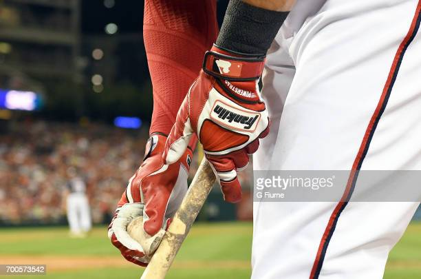 Ryan Raburn of the Washington Nationals wears Franklin batting gloves during the game against the Texas Rangers at Nationals Park on June 9, 2017 in...