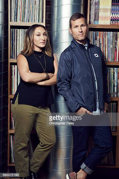 DJ Ryan Raddon aka Kascade is photographed with his manager Stephanie LeFera for Billboard Magazineon May 4 2016 in Santa Monica California Published...