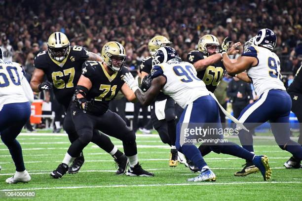 Ryan Ramczyk of the New Orleans Saints blocks Michael Brockers of the Los Angeles Rams during the game at the Mercedes Benz Superdome on November 4,...