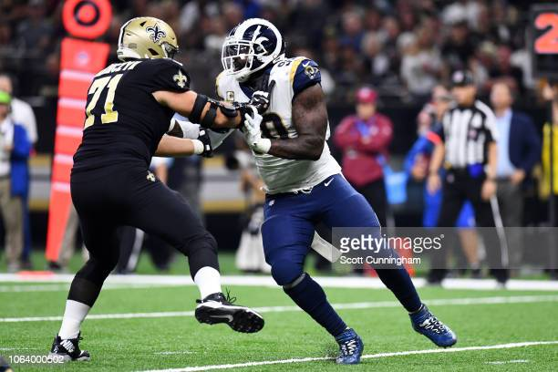 Ryan Ramczyk of the New Orleans Saints blocks Ndamukong Suh of the Los Angeles Rams at the Mercedes Benz Superdome on November 4, 2018 in New...